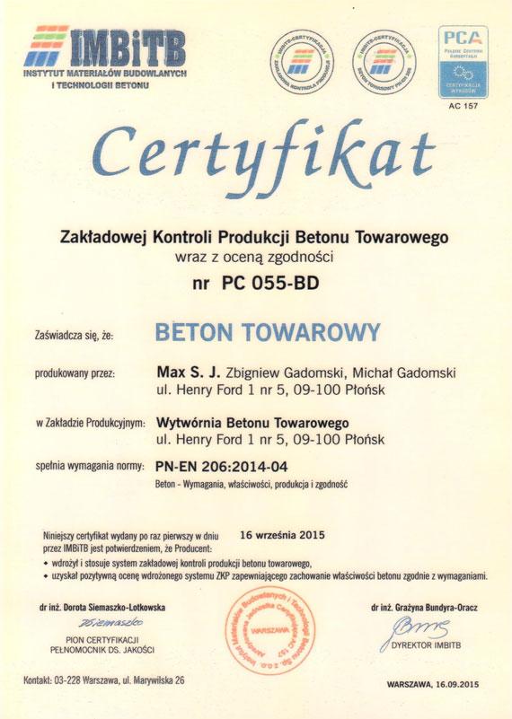 Max Gadomscy - Certyfikat Jakości